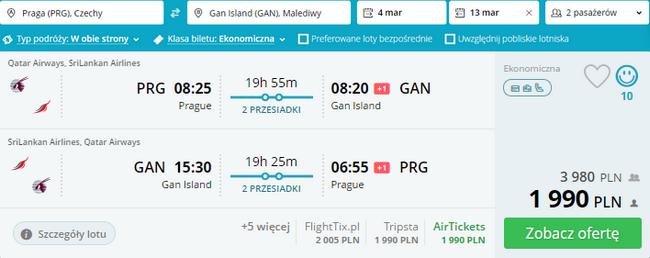 loty z Pragi na Malediwy