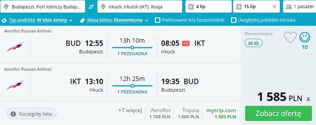 tanie loty nad Bajkał