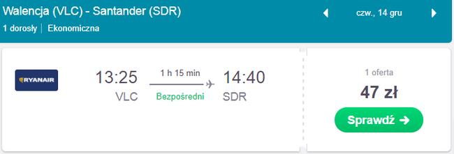 rezerwacja lotów z walencji do santander