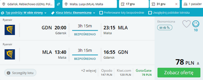 loty Ryanair na Maltę