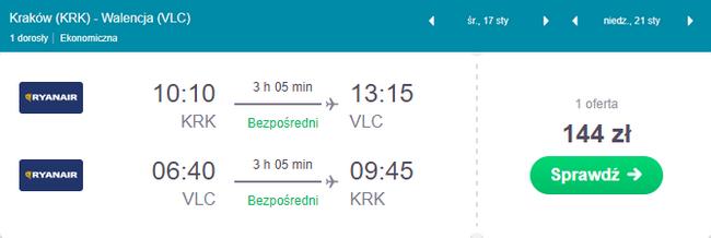 rezerwacja lotu z Krakowa do Walencji
