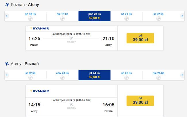 bilety lotnicze do Aten za 78 złotych