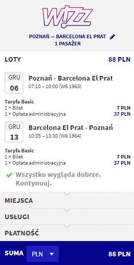 loty z Poznania do Barcelony