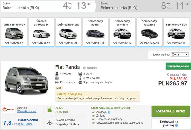 wynajem auta w Bolonii
