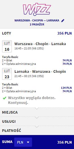 loty z Warszawy do Larnaki
