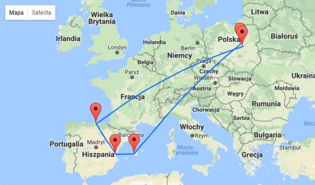 trasa podróży mapka