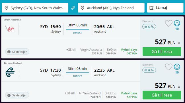 lot z Sydney do Auckland