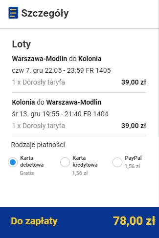 rezerwacja biletów z Warszawy do Kolonii