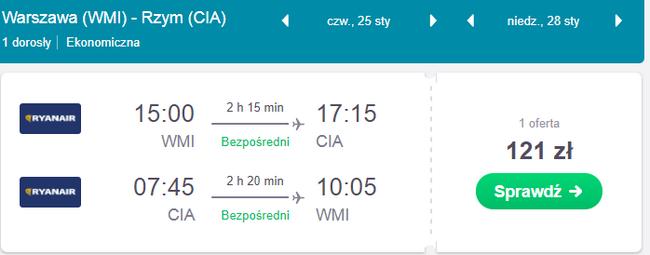 loty z warszawy do rzymu