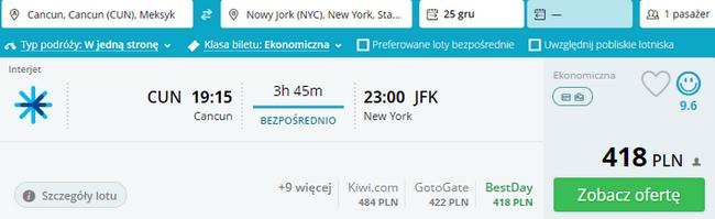 rezerwacja biletu do Nowego Jorku
