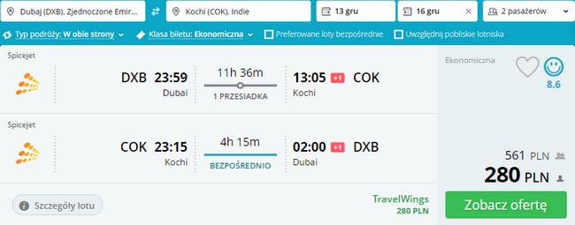 loty z Dubaju na Koczin