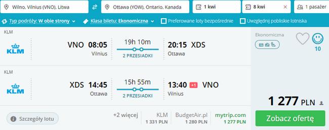 rezerwacja lotów do Ottawy