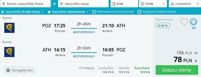 Ryanair z Poznania do Aten