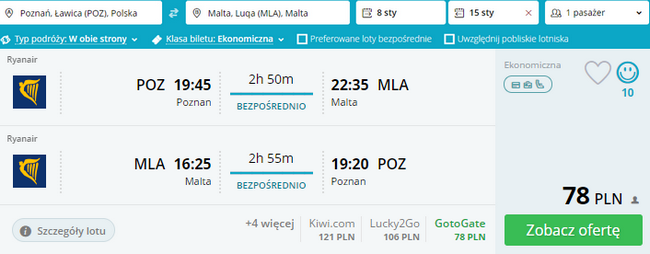 Ryanair z Poznania na Maltę