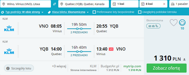 rezerwacja biletów do Quebec