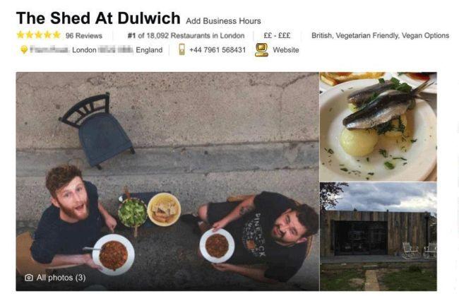 fałszywa restauracja na tripadvisor