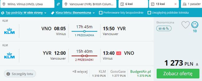 rezerwacja lotów do Vancouver