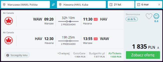 Rezerwacja lotów z Warszawy do Hawany