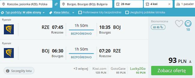 rezerwacja lotów do Burgas