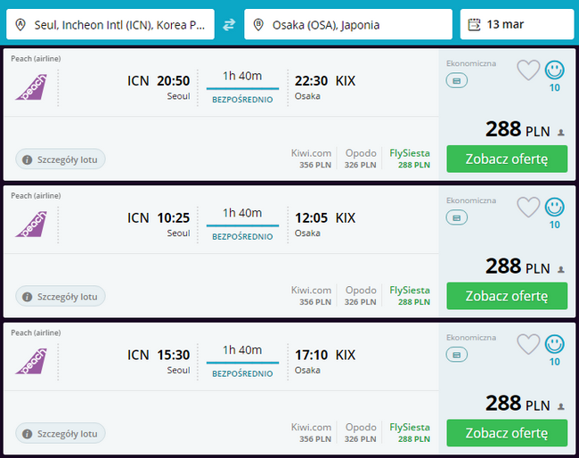 rezerwacja lotu z Seulu do Osaki