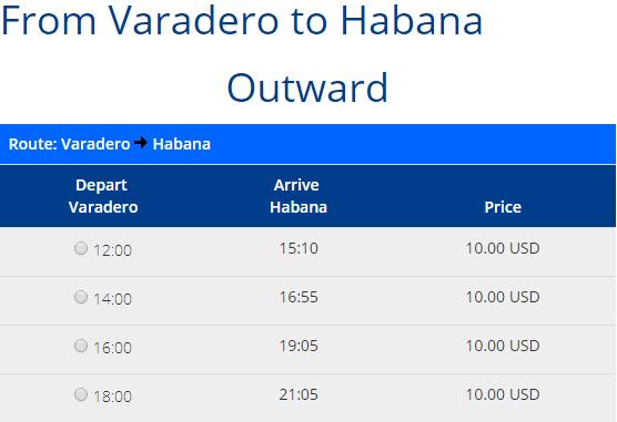 Rezerwacja przejazdów z Varadero do Hawany
