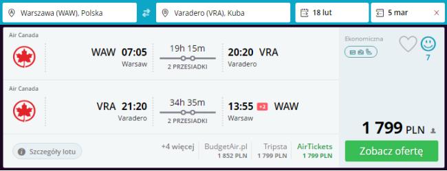 rezerwacja lotów z Warszawy do Varadero
