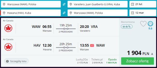 Rezerwacja lotów z Warszawy na Kubę