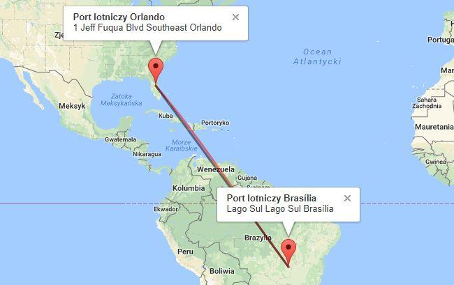 Trasa z USA do Brazylii
