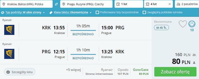 rezerwacja lotów do Pragi