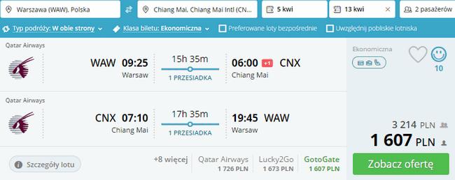 rezerwacja lotów do Chiang Mai