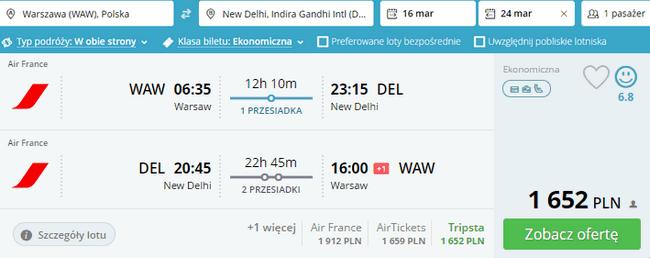 rezerwacja lotów do Indii