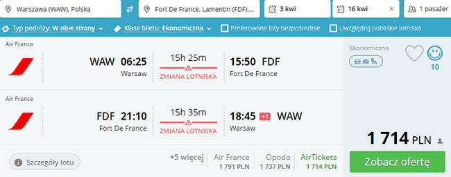 rezerwacja lotów na Martynikę