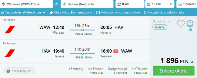 rezerwacja lotów do Havany