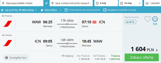 rezerwacja lotów do Seulu