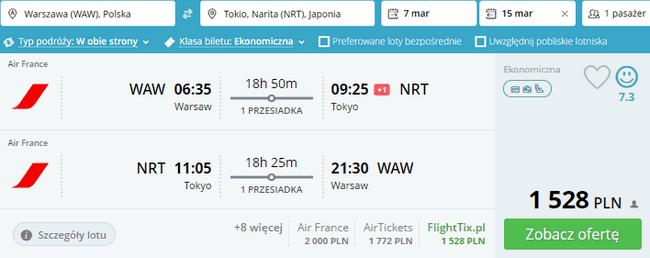 rezerwacja lotów do Tokio
