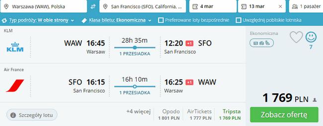 rezerwacja lotów do San Fancisco