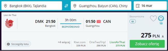 Rezerwacja przelotów z Bangkoku do Kantonu