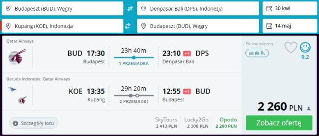 Rezerwacja przelotów Budapeszt - Bali, Kupang - Budapeszt