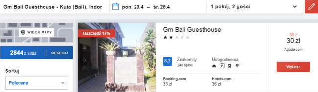 Rezerwacja obiektu Gm Bali Gueshouse