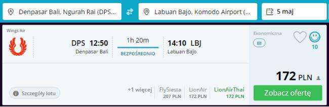 Rezerwacja przelotów z Bali do Labuan Bajo
