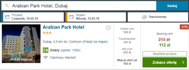 Rezerwacja obiektu Arabian Park Hotel
