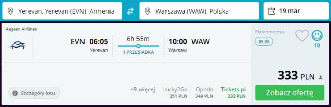 Rezerwacja przelotów z Erywania do Warszawy