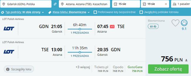 rezerwacja lotów do Astany