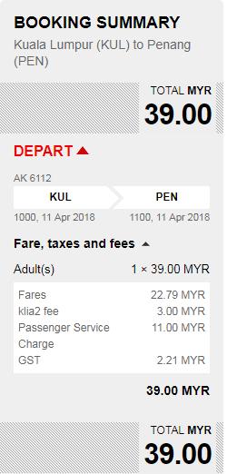 Rezerwacja przelotów z Kuala Lumpur do Penang