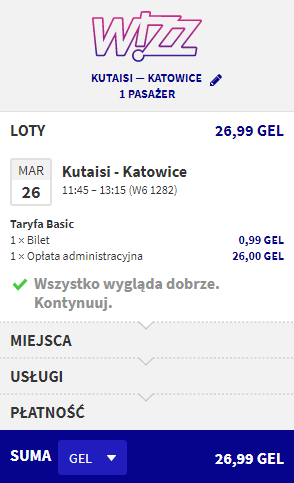 Rezerwacja przelotów z Kutaisi do Katowic