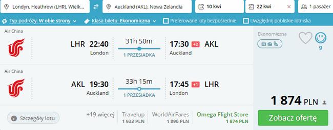 rezerwacja lotów do Nowej Zelandii