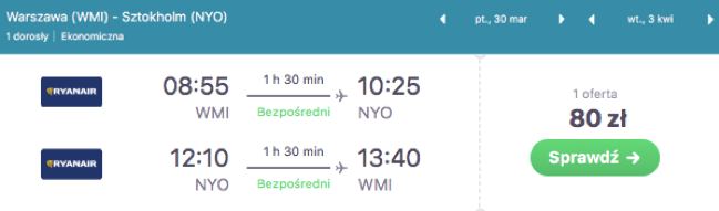 zarezerwuj lot do sztokholmu