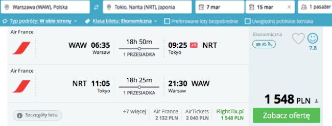 zarezerwuj lot do Tokio