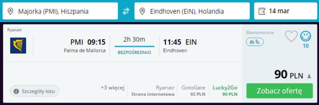 Rezerwacja przelotów z Majorki do Eindhoven