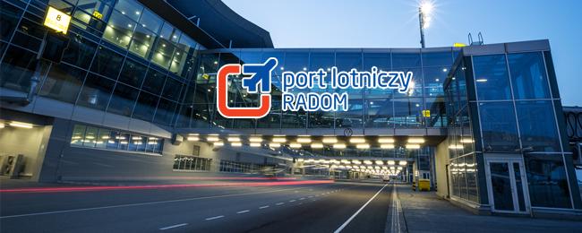 Lotnisko Chopina z logo portu lotniczego w Radomiu